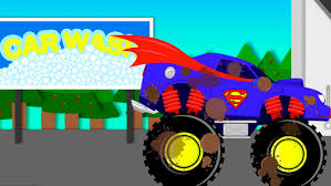 videos monster truck superman car wash monster truck videos for children videos for