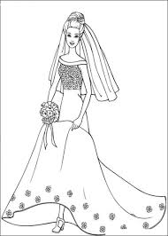 barbie wedding dress coloring free printable coloring pages
