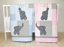 Organic Nursery Bedding Sets by Twin Baby Quilts Pink Blue Twin Crib Bedding Elephant Kids