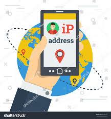 ip address map businessman smart phone changes ip stock illustration