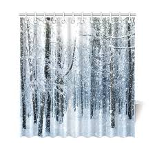 Cloth Shower Curtains Interestprint Snowy Trees Forest Mountain Home Decor Winter