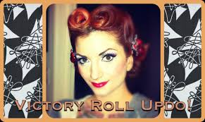 vintage hair center part victory roll updo tutorial by cherry