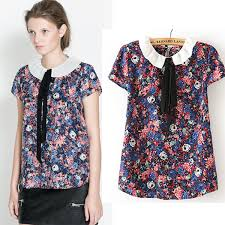 baby doll blouses 2014 arrival chiffon floral print shirts s