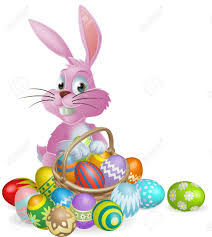 easter rabbits decorations pink easter bunny rabbit with easter eggs basket of chocolate
