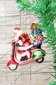 tree santa vespa scooter ornament for the holidays