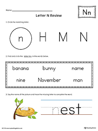 finding and connecting letters letter n worksheet color