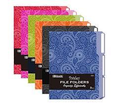 cavallini file folders 6 pk bazic 1 3 cut letter size paisley file folder