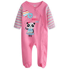 panda baby pajamas romper foot cover newborn rompers pink