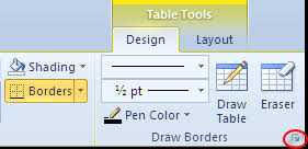 table tools design tab using borders in word 2007 and above