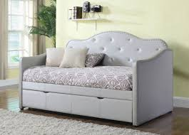 grey leather daybed crystal tufted