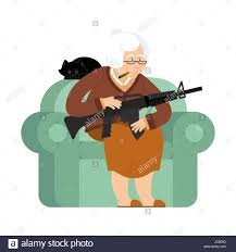 An Armchair Grandmother With Gun Old Woman In An Armchair With Tommy Gun And