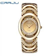 luxury gold bracelet watches images Luxury brand crrju quartz watch women gold steel bracelet watch jpg