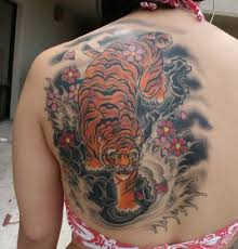 tiger and flower on back from itattooz