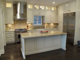 latest kitchen cabinet brick backsplash tile coffee brown granite