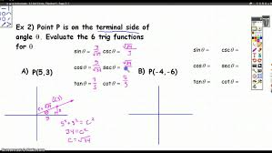 trig functions of angles in standar position youtube