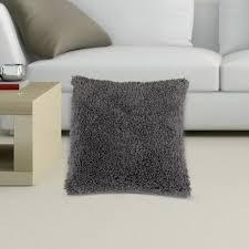taie d oreiller housse coussin peluche polyester gris cendré 45x45cm