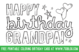 dad grandpa printable coloring birthday cards inspiration