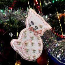 cat embroidered felt tree ornament