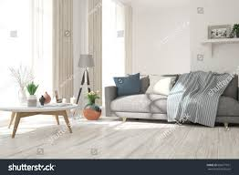 white modern room sofa scandinavian interior stock illustration