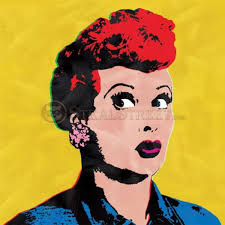 love lucy andy warhol style pop art yellow canvas wall painting