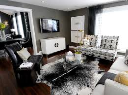 Modern Cowhide Rug Gray Room Contemporary Living Room Atmosphere Interior Design