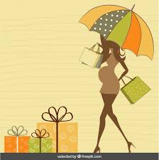 umbrella baby shower silhouette with umbrella baby shower card vector free