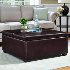 pierce 2 tray bonded leather storage ottoman