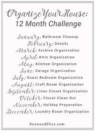 organize your house 12 month challenge