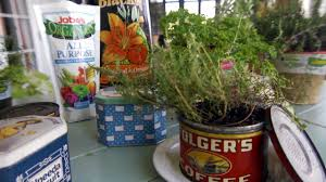 how to plant herbs in tin containers at home with p allen smith