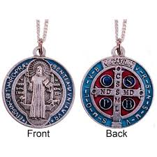 catholic pendants st benedict blue and silver medal chain the catholic
