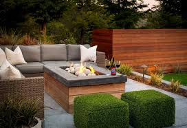 wicker sectional with gray outdoor cushions transitional deck