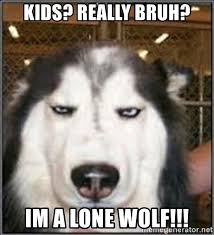 Lone Wolf Meme - kids really bruh im a lone wolf pissed husky meme generator