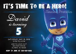 catboy pj masks birthday invitation printable digital personalized
