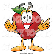 stock cartoon of a cute red apple character mascot with open arms