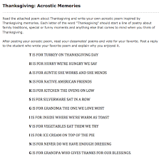 Acrostic Thanksgiving Poem Thanksgiving Discussion Topics
