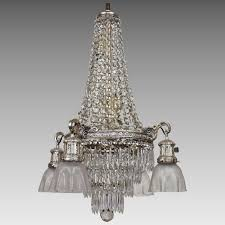 crystal l shade chandelier vintage crystal tiered chandelier 10 lights with etched shades