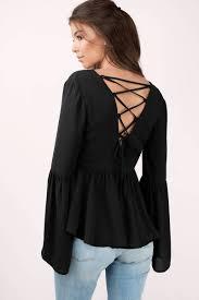 womens black blouse black blouse lace up blouse bell sleeve blouse black