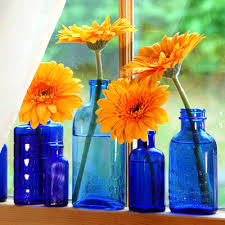 Antique Cobalt Blue Vases Think Outside The Vase Blue Glass Bottles Bright Yellow And