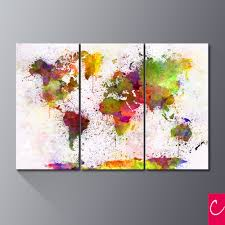 World Map Artwork by Triptych Abstract World Map Art Print Canvas Painting Modern Wall