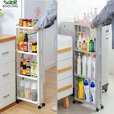 kitchen storage cupboard on wheels wbbooming kitchen storage rack fridge side shelf 3 and 4 layer removable with wheels bathroom organizer shelf gap holder