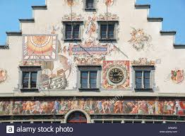 decorative painted wall mural on the side of the town hall in decorative painted wall mural on the side of the town hall in lindau bavaria germany europe