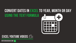 how to convert dates in excel into year month or day using the