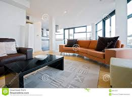 Living Room With Orange Sofa Living Room With Orange Sofa Stock Image Image Of Carpet Brown
