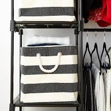 charcoal u0026 ivory rugby stripe storage bin with handles the