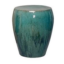 Ceramic Side Table Teal Ceramic Garden Stool Glossy End Or Side Table Indoor Or