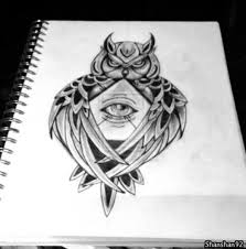 black and white owl triangle eye design