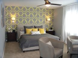 grey and yellow wallpaper for superb bedroom decorating ideas with grey and yellow wallpaper for superb bedroom decorating ideas with comfortable chairs