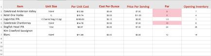 bar tools bar u0026 liquor inventory spreadsheet template