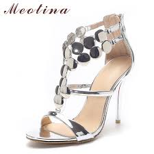 wedding shoes glitter meotina shoes 2018 summer gladiator sandals women high
