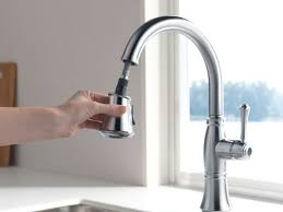 Delta Hands Free Kitchen Faucet by Faucet Com 9197 Pn Dst In Polished Nickel By Delta